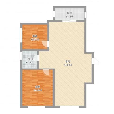 嘉林小区2室1厅1卫1厨112.00㎡户型图