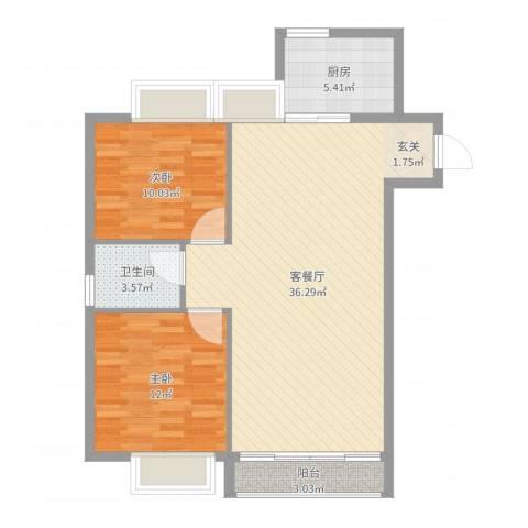 信和上筑2室2厅1卫1厨88.00㎡户型图