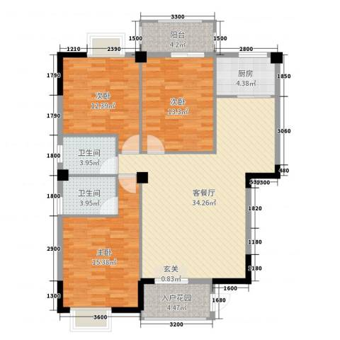 盛祥现代城3室2厅2卫1厨124.00㎡户型图