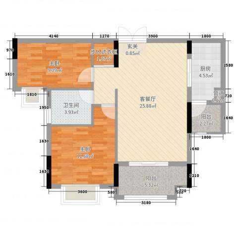 蓝天金地2室2厅1卫1厨91.00㎡户型图