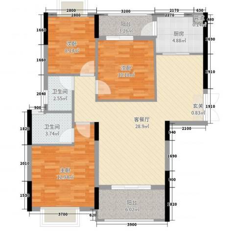 蓝天金地3室2厅2卫1厨112.00㎡户型图