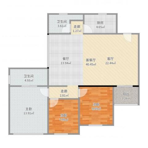 龙威花园3室2厅2卫1厨111.00㎡户型图