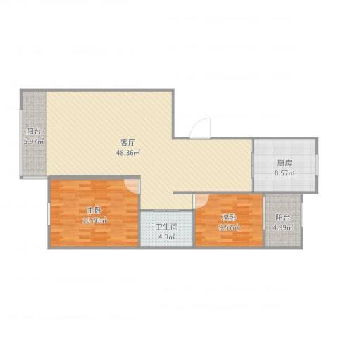 南郡天下御园2室1厅1卫1厨115.00㎡户型图