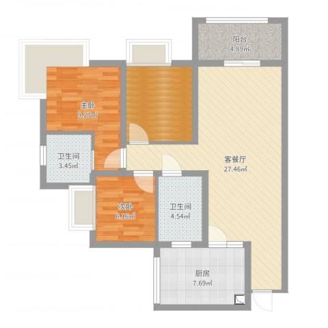 城南春天2室2厅2卫1厨89.00㎡户型图