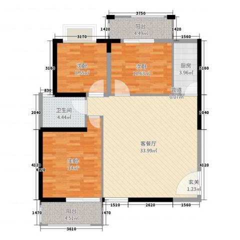联众光辉乾城3室2厅1卫1厨106.00㎡户型图