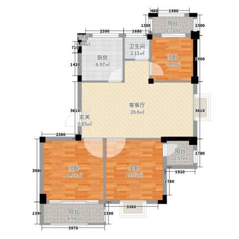 联众光辉乾城3室2厅1卫1厨100.00㎡户型图