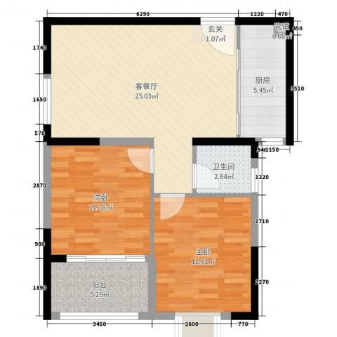 联众光辉乾城2室2厅1卫1厨78.00㎡户型图
