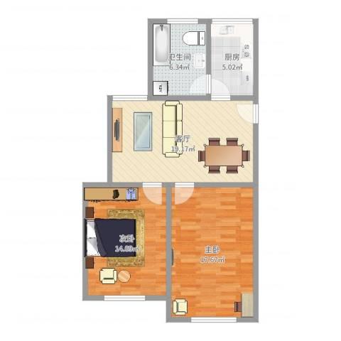 南苑七村2室1厅1卫1厨78.00㎡户型图