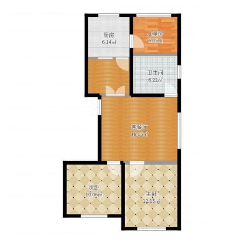 蒙东绒毛商贸城3室2厅1卫1厨80.00㎡户型图