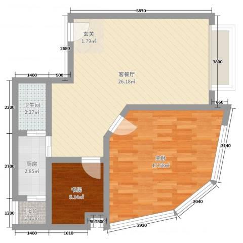 鹿茵华庭2室2厅1卫1厨88.00㎡户型图