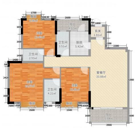 东田山畔华庭3室2厅3卫1厨128.00㎡户型图
