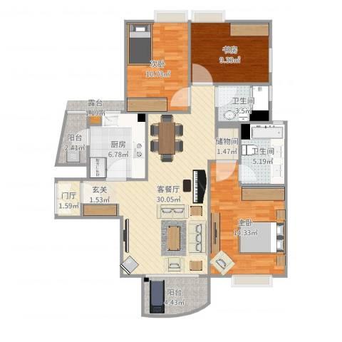 静安枫景苑3室2厅2卫1厨111.00㎡户型图