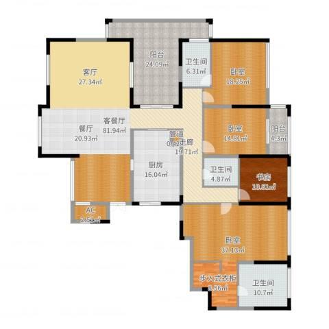 山水名家1室2厅3卫1厨290.00㎡户型图