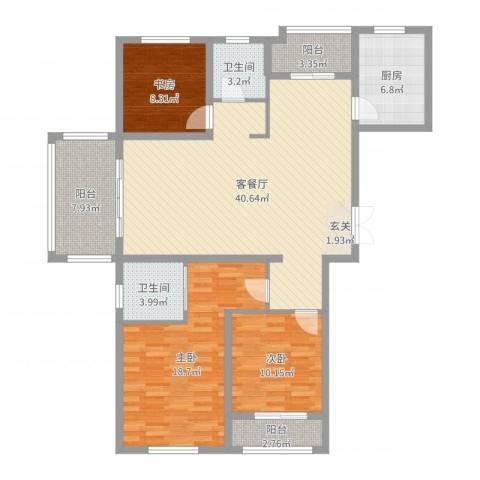 绿地华庭3室2厅2卫1厨132.00㎡户型图
