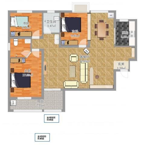 金域城邦3室2厅1卫1厨124.00㎡户型图