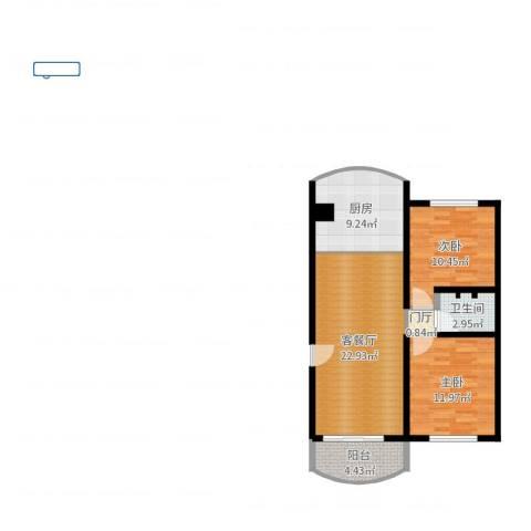 龙阳花苑三期2室2厅1卫1厨79.00㎡户型图