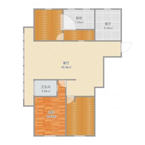 宝带小区1室2厅1卫1厨141.00㎡户型图