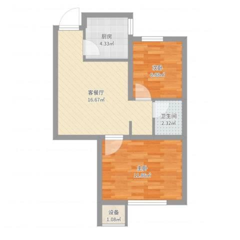 如意小区2室2厅1卫1厨54.00㎡户型图