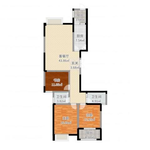 典雅花园3室2厅2卫1厨136.00㎡户型图