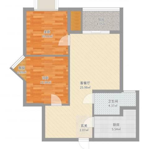 禧福泛海时代2室2厅1卫1厨79.00㎡户型图
