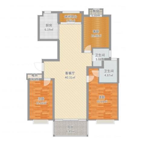 申鑫名城3室2厅2卫1厨131.00㎡户型图