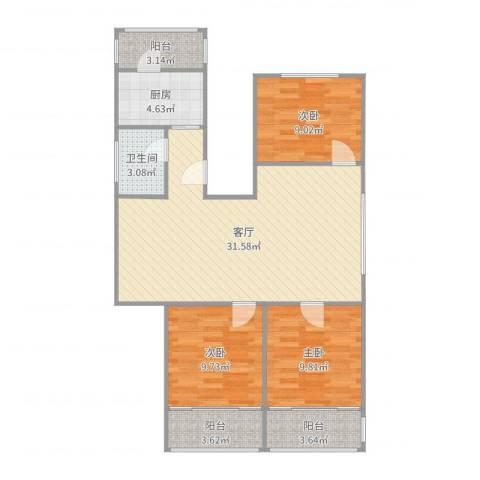 白云园3室1厅1卫1厨98.00㎡户型图