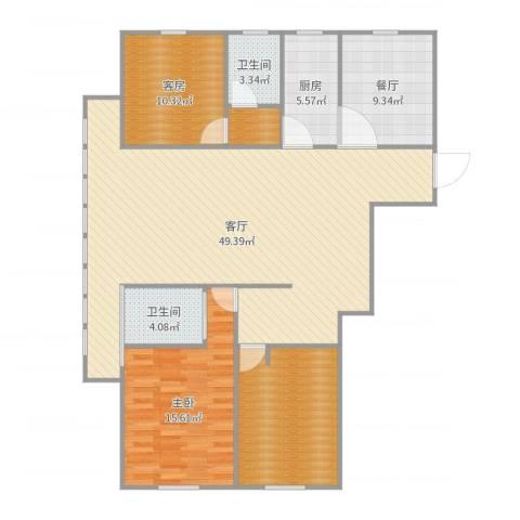 宝带小区1室2厅2卫1厨140.00㎡户型图