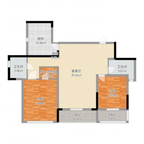 万科华庭2室2厅3卫1厨146.00㎡户型图
