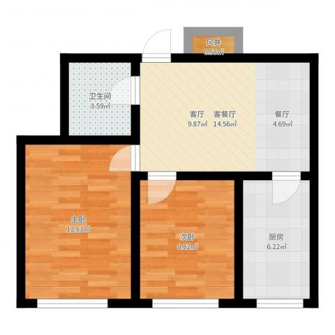 东港国际城2室2厅1卫1厨58.00㎡户型图