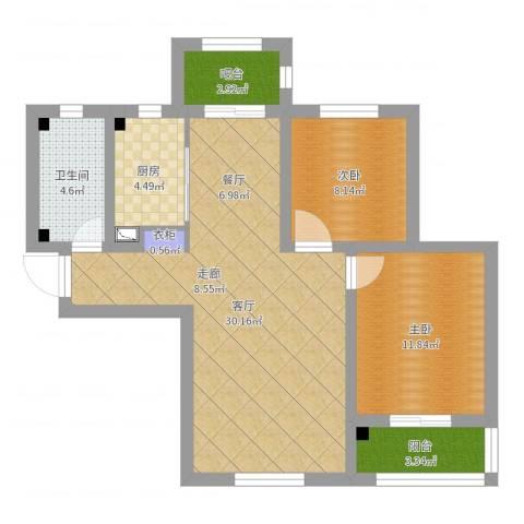 美域新城2室1厅1卫1厨82.00㎡户型图