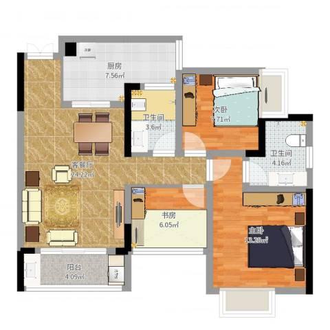 兴盈德润城3室2厅2卫1厨88.00㎡户型图