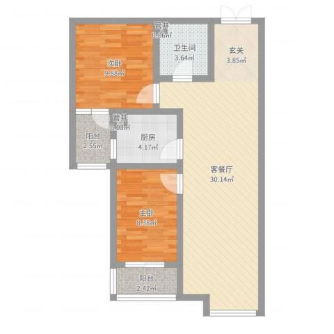 水岸茗苑2室2厅1卫1厨77.00㎡户型图