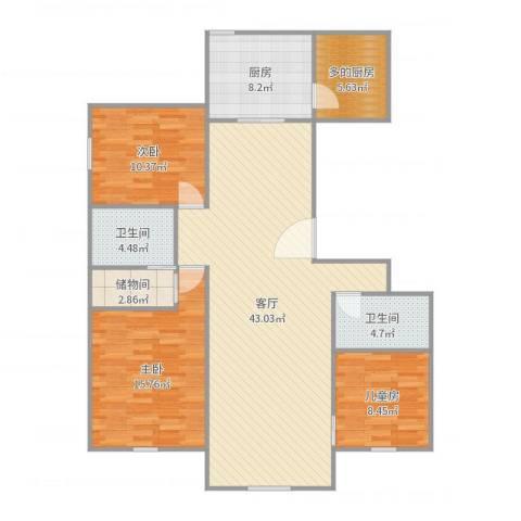 首开保利熙悦诚郡3室1厅2卫1厨129.00㎡户型图