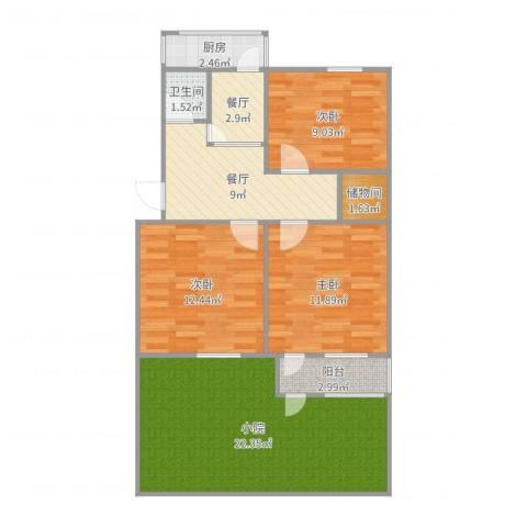 闵子骞路单位宿舍3室2厅1卫1厨95.00㎡户型图