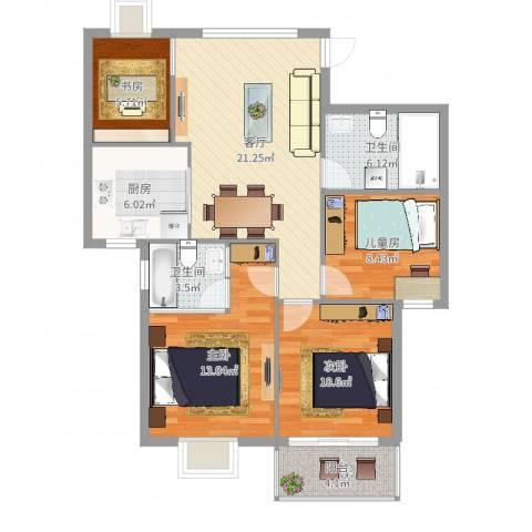盛世东方4室1厅2卫1厨98.00㎡户型图