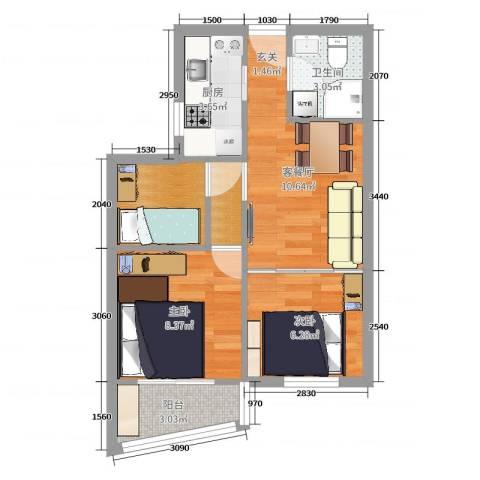 清河毛纺厂南小区2室2厅1卫1厨57.00㎡户型图