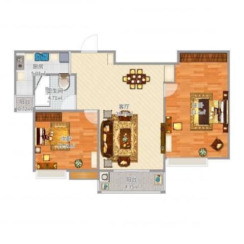 国泰・润园2室1厅1卫1厨98.00㎡户型图