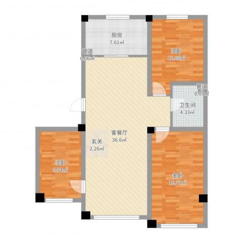 辽阳泛美华庭3室2厅1卫1厨109.00㎡户型图