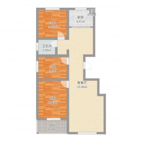 时代中通首府3室2厅1卫1厨93.00㎡户型图