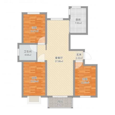 万豪华庭公馆3室2厅1卫1厨111.00㎡户型图