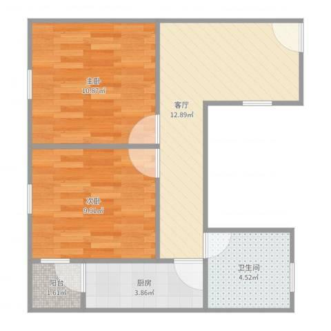 平江盛世家园2室1厅1卫1厨55.00㎡户型图