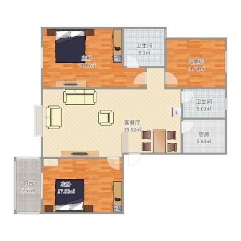 逸升佳苑3室2厅2卫1厨141.00㎡户型图