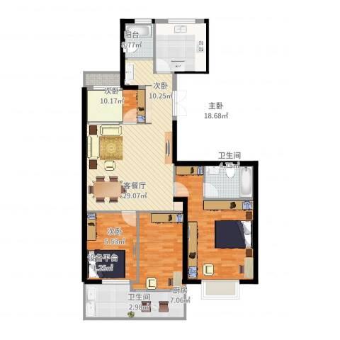 蓝天华都苑4室2厅2卫1厨123.00㎡户型图