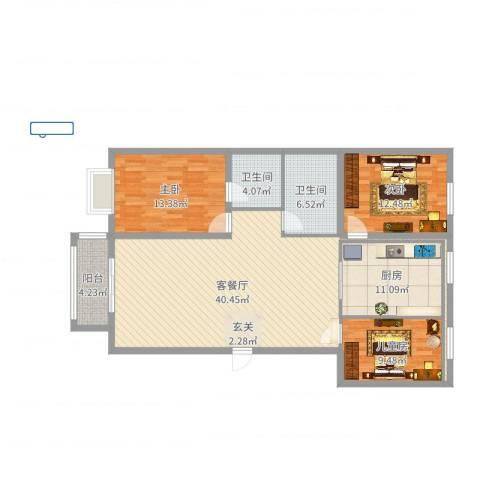 新世纪花园3室2厅2卫1厨127.00㎡户型图