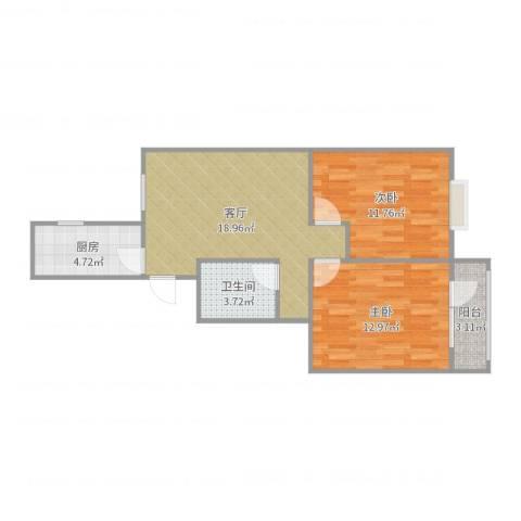 华明家园2室1厅1卫1厨69.00㎡户型图