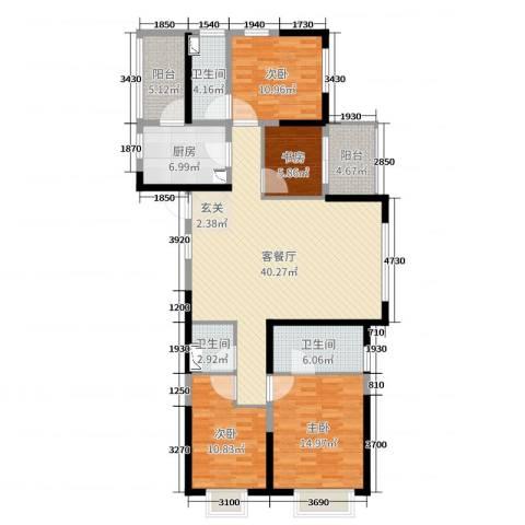 明园九龙湾4室2厅3卫1厨141.00㎡户型图