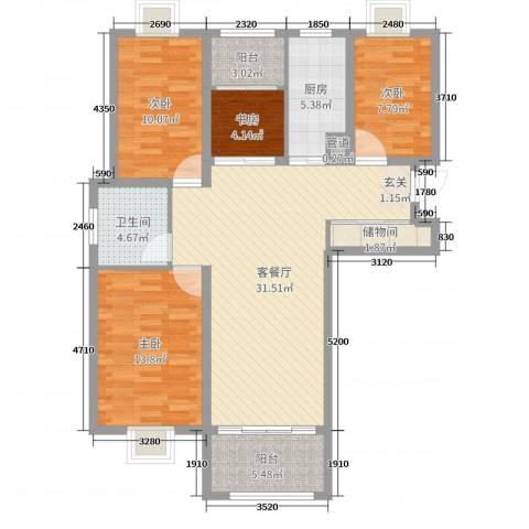 金港湾4室2厅1卫1厨110.00㎡户型图