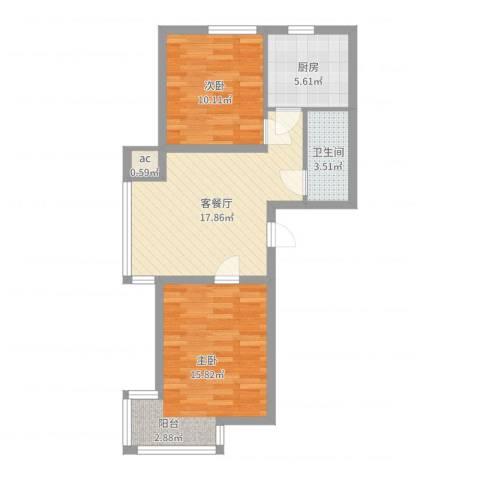 浑河湾2室2厅1卫1厨67.00㎡户型图