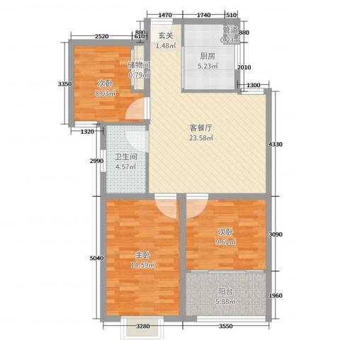 金港湾3室2厅1卫1厨91.00㎡户型图