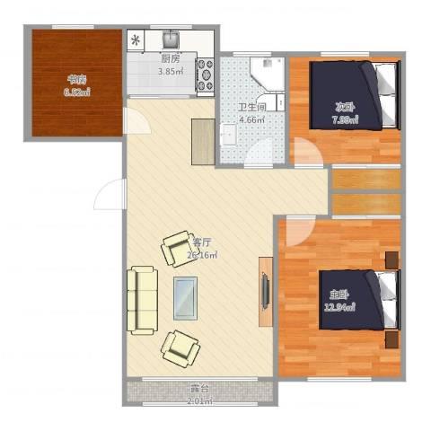 钰桥中央庭院3室1厅1卫1厨90.00㎡户型图